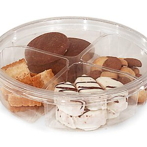 """Clear Food Containers - 28 oz Round Container w/4 Dividers 6 - 3/4"""" Dia.x2"""" Deep - (250 Per Pack)"""