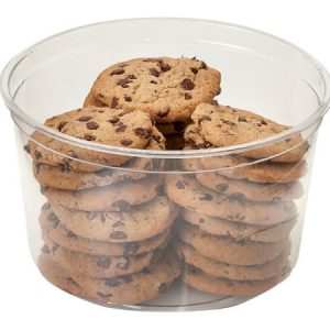 """Clear Food Containers - 64 oz Round Plastic Food Containers 6 - 3/4"""" Dia.x4 - 1/4"""" Deep - (250 Per Pack)"""