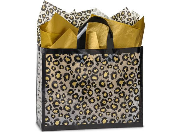 "Frosted Leopard Safari Bags - Vogue Safari Frosted Plastic Bags Bulk 3 mil HD Plastic 16x6x12"" (250 Bags Per Pack)"