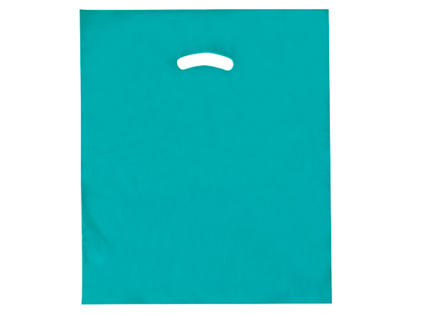"""Super Gloss Merchandise Bags - Teal Super Gloss Bags 15x18x4"""" Recycled Plastic Bags 1.25 Mil (500 bags)"""