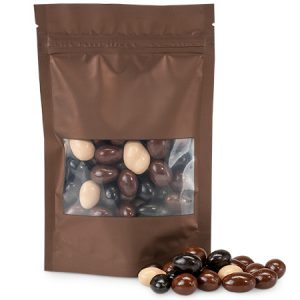 "Zip Top Window Bags- Chocolate 4x6x1"" Zip Top Window Mini Pack Zipper Bags 5 Mil (3 Packs; 50 Bags Per Pack)"