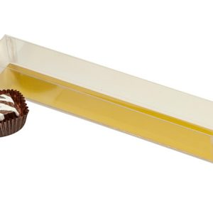 """Clear Truffle Boxes - 2 Pc Medium Clear Truffle Boxes w/Gold Bottom 8 - 1/16x1 - 1/4x1 - 3/16"""" - (2 Packs; 25 Per Pack)"""