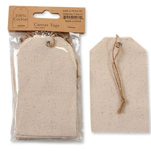 "100% Cotton Canvas Gift Tags - Large 100% Cotton Canvas Gift Tags 2 -3/4x3 -3/4"" - Pre -strung (12 Packs; 12 Tags Per Pack)"