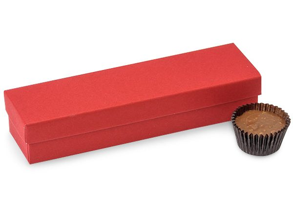 "Rigid Truffle Candy Boxes - 5 Pc Truffle Boxes Red 6 - 1/2x1 - 5/8x1 - 1/4"" - 2 Pc Box - (2 Packs; 24 Per Pack)"