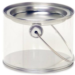 "Clear & Solid Tin Pails - 16 oz Clear PET Pail w/ Tin Lid & Handle 4"" Dia.x3"" Tall (2 Packs; 6 Pails Per Pack)"
