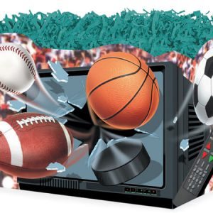 "All Occasion Basket Boxes - large_TV Sports & Balls Basket Box 10-1/4x6x7-1/2"" - (2 Packs; 6 Boxes Per Pack)"