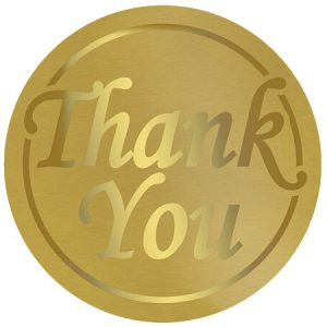 """Thank You Foil Gold On Gold Seals 1 -1/2"""" Round (5 Packs; 250 Labels Per Pack)"""