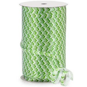 "Apple Green Chevron Curling Ribbon 1/4""x500 yds 100% Polypropylene (5 Rolls)"