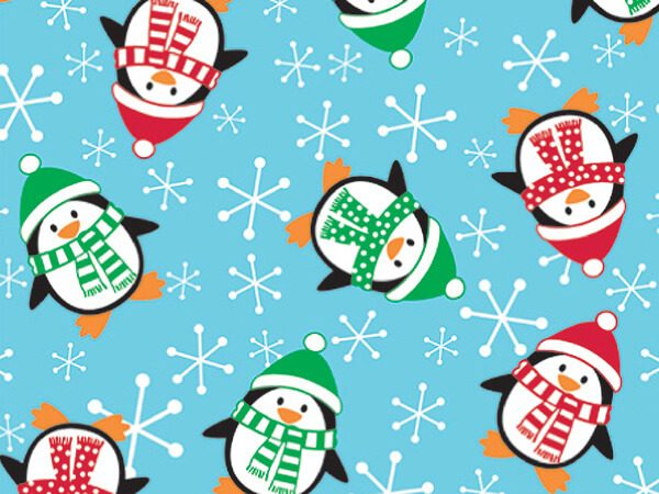 """Holiday Kids - Roly Poly Penguins 24""""x417' Gift Wrap Half Ream Roll (1 roll)"""