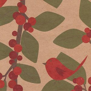 Red Bird Berries 24x417' Recycled Gift Wrap Counter Roll (Kraft) (1 Roll)