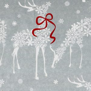 """Snowflake Reindeer (Kraft) 24""""x 85' Recycled Gift Wrap Cutter Box (2 Boxes)"""