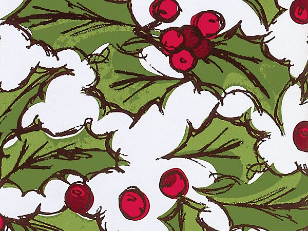 """Holly Berry Toss 24""""x417' Recycled Gift Wrap Counter Roll (1 Roll)"""
