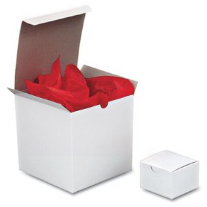 "4"" x 4"" x 4"" One-Piece Gift Box - White (100 per carton)"