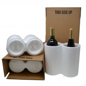 2 Bottle Styrofoam Wine Shipping Box and Cooler (2 per Pack)