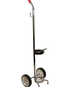 """Oxygen Tank Cart for """"E"""" Cylinder, Chrome, Tubing Hook - MES-0131"""