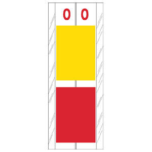 "4"" H x 1-1/2"" W Yellow/Red Acme Visible Compatible 4"" 2-Color Alpha Tabs 'O' (102/Pack) - 12716"