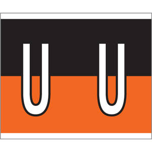 "1-1/2"" H x 1-1/4"" W Orange/Black Kardex PSF-144 Compatible 1-1/4"" Alpha Labels 'U' (210/Pack) - 144-U"