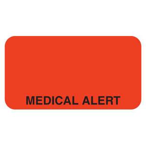 "1-5/8""W x 7/8""H Fluorescent Red Allergy Labels ""Medical Alert"" (560 Roll) - V-MC218"