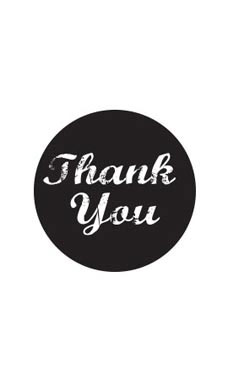 Black Thank You Stickers (Pack of 30) - STOR-15906