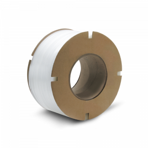 "PolyPRO Strap - Poly Machine Grade (White) - 8 X 8 Core - 3/8"" X 12900', .022 Thickness, 300 lbs Tensile (1 Coil)"