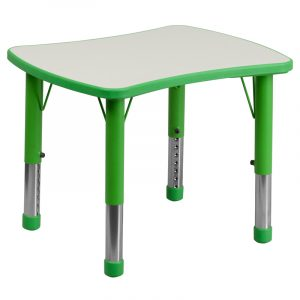 """21.875"""" x 26.625"""" Green Adjustable Plastic Activity Table w/ Grey Top (1 Table)"""