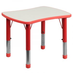 """21.875"""" x 26.625"""" Red Adjustable Plastic Activity Table w/ Grey Top (1 Table)"""