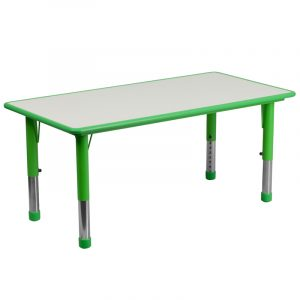 """23.625"""" x 47.25"""" Green Adjustable Plastic Activity Table w/ Grey Top (1 Table)"""