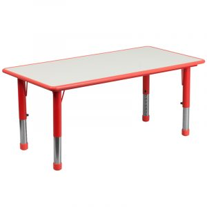 """23.625"""" x 47.25"""" Red Adjustable Plastic Activity Table w/ Grey Top (1 Table)"""