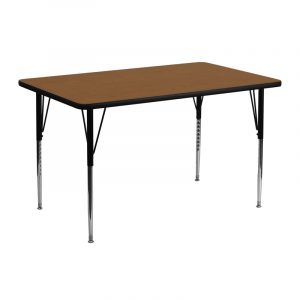 """24"""" x 48"""" Rectangular Activity Table w/ 1.25"""" High Pressure Oak Laminate Top and Adjustable Legs (1 Table)"""
