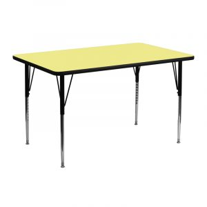 """24"""" x 48"""" Rectangular Activity Table w/ Yellow Thermal Fused Laminate Top and Adjustable Legs (1 Table)"""