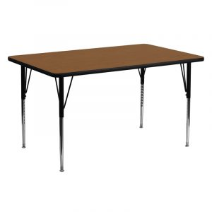"""24"""" x 60"""" Rectanglular Activity Table w/ 1.25"""" High Pressure Oak Laminate Top and Adjustable Legs (1 Table)"""