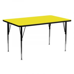 """24"""" x 60"""" Rectanglular Activity Table w/ 1.25"""" High Pressure Yellow Laminate Top and Adjustable Legs (1 Table)"""
