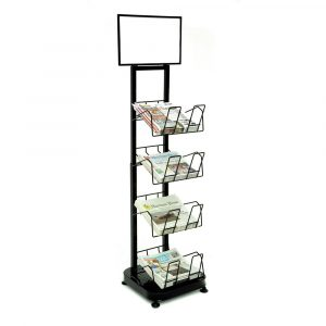"""4 Shelf Baskets for Newspapers/Magazines, STAND SOLD SEPARATELY, 16 1/2""""L x 16""""W x 3""""D (4 Baskets) - HUB-36977"""