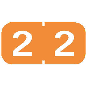 """1/2"""" H x 1"""" W Light Orange Tab Products Compatible 1/2"""" Numeric Label '#2' (500 Labels/Roll) - 71202"""