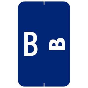 "1-5/8""H x 1""W Dark Blue Smead ACC & ACCS Compatible 1-5/8"" Alpha Labels 'B'  (250/Roll) - 91822"