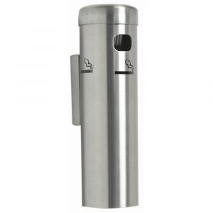 Wall Mount Cigarette Receptacle 3 1/2Dia x 12 1/4H Silver - HUB-46614