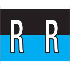"1-1/2"" H x 1-1/4"" W Black/Blue Kardex PSF-139 Compatible 1-1/4"" Alpha Labels 'R' (500/Roll) - 139-R"