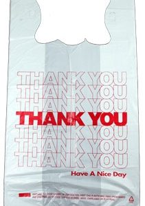 """Thank You"" T-shirt style Plastic Bags - 12 x 23"" w/ 7"" side gusset, 500/box - MES-4985"