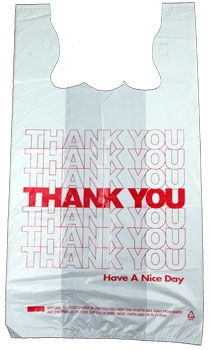 """""""Thank You"""" T-shirt style Plastic Bags - 12 x 23"""" w/ 7"""" side gusset, 500/box - MES-4985"""