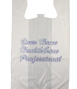 """Your Home HealthCare Professional"" T-shirt style Plastic Bags - 12 x 23"" w/ 7"" side gusset, 500/box"