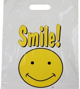 """Smile!"" Yellow Happy Face Plastic Merchandise To Go Bag, 12"" x 16"" + 3"" Bottom Gusset - Patch Handle (500 Bags)"