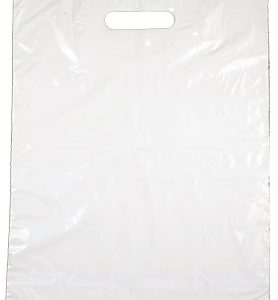 "White Merchandise Take Out Bag, 20"" x 24"" + 4"" Bottom Gusset w/ reinforced patch handle, 500/box"