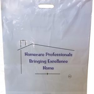"""Your Homecare Professional"" Plastic Merchandise Bag, 12 x 16"" + 3"" Bottom Gusset w/ Patch handle (500/Box)"