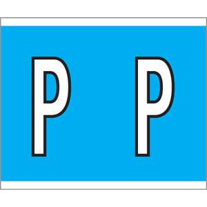 "1-1/2"" H x 1-1/4"" W Blue Kardex PSF-144 Compatible 1-1/4"" Alpha Labels 'P' (210/Pack) - 144-P"