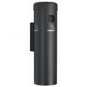 Wall Mount Cigarette Receptacle 3 1/2Dia x 12 1/4H Black - HUB-53083
