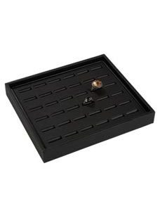 Small Black Leatherette Ring Tray (3/Pack) - STOR-55483