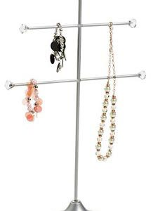 Large 2 Tier Silver Metal Jewelry Display - STOR-55496