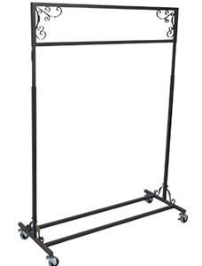 Boutique Vintage Salesman Rolling Rack - Single Rail - STOR-60801
