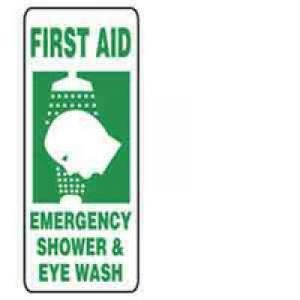 "10 x 14 Accu-Shield Safety Sign -  ""First Aid Emergency Shower and Eye Wash"" Sign - SAFETY-MA-MFSD996XP"
