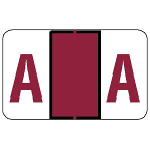 """15/16""""H x 1-1/2""""W Red Tab & Jeter Compatible 1"""" Alpha Label 'A' (500/Roll) - 91121"""